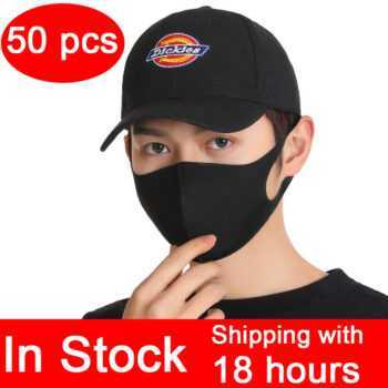 50PCS In Stock nano Black Mouth Mask Anti Dust Mask Activated Carbon Windproof Mouth-muffle Bacteria Proof Flu Face Masks