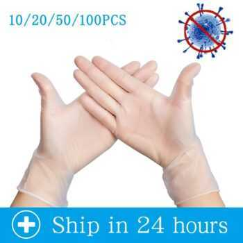 10/20/50/100Pcs White Disposable Latex Gloves For Home Cleaning /Food/Rubber Gloves Universal For Left and Right Hand PM004