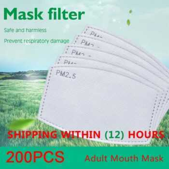 200pcs/Lot PM2.5 Filter Paper Anti Haze Adult Mouth Mask Anti Dust Mask Activated Carbon Filter Paper Health Care