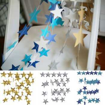 1 Set Length 4 M Gold Silver Blue Stars Christmas Birthday Garland Hanging Ornaments Window Display Flag Party Decor Supplies 6Z