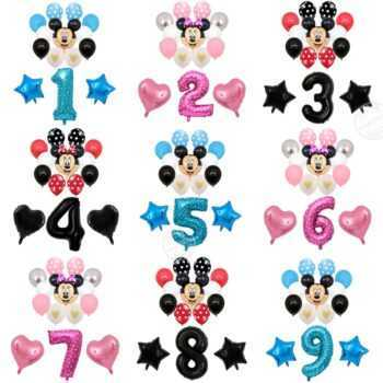 1 set Mickey Minnie Mouse balloons set cartoon global 32inch number foil balloons baby shower kids Birthday decor balloon helium