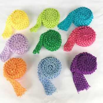 1.5″ Crochet Headband Trim Band Rolls by Metre DIY Tutu Tulle Skirt Waistband Birthday Party Event Supplies