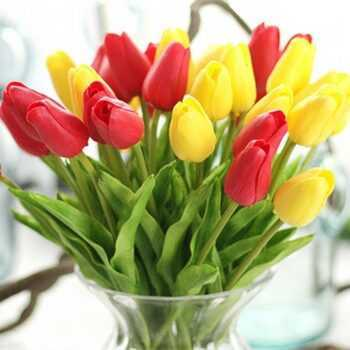 1 pc Pu Tulpen Artificial flowers Real Touch Artificial Para Decora Mini Tulpe For Home Wedding Decoration Flowers