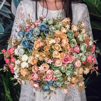 1 Bouquet 10 head Artificial Silk cloth Fake Flowers Leaf Peony Floral Home Wedding Party home Decor Blue Tea rose small bouquet