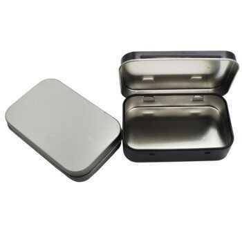 1 pc Survival Kit Tin Small Empty Metal Tin Silver Black Flip Storage Box Case Organizer For Money Coin Candy Key