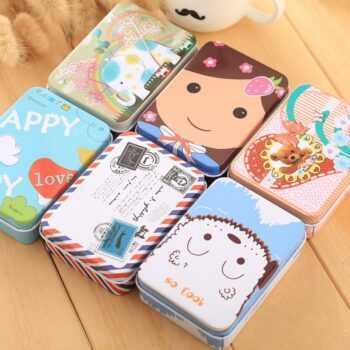 1 Pieces Hot Sale New Fashion Rectangle Tin Sheet Small Box Storage Box Creative Flash Card Box Jewel Case