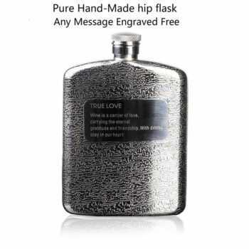 1 pc Man's gift 6oz classics ( Pure hand-made )stainless steel pocket hip flask,Alcohol Flask with high quality mirror face