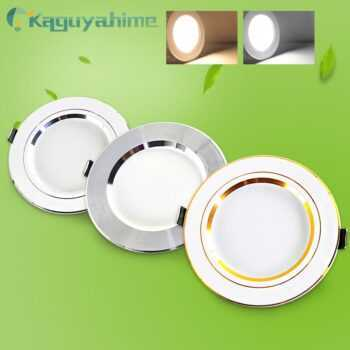 =(K)= LED Downlight AC 220V 18W 15W 12W 9W 5W 3W Round Recessed Lamp Gold Silvery Light LED Ceiling Lamp Warm White Cold White