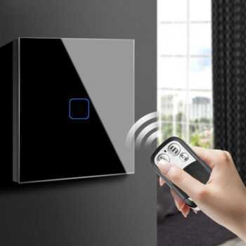 1 Gang 1 Way Touch Switch LED Light Touch Screen Switch Wall Recessed Glass Panel Control Waterproof EU UK 220V RF Control