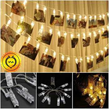 10 20 30 50 80 LED Battery Power Hanging Picture Photo Pegs Clip Fairy Wire String Lamp Lights Chain Christmas Party Decoration