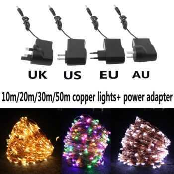 10M/20M/30M/50M Copper Wire Led String Light Waterproof Decorative Fairy Starry Lights with Power Adapter (UK,US,EU,AU Plug)