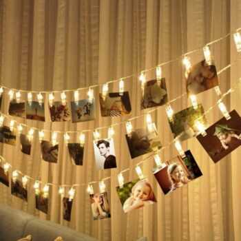 10 20 40 LED DIY Garland Card Photo Clip String Lights Battery Operated Fairy Lights Christmas Wedding Home Luminaria Decoration