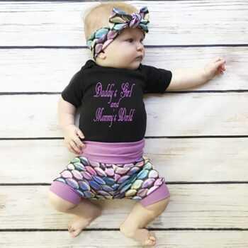 0-18M/Newborn Baby Boys Clothes Baby Girls outfits Mermaid Brand headband T-shirt jumpsuits short pant 3PCS set Child suit A297