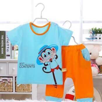 (2pcs/set)0-24month Baby Clothing Set Summer short Baby Boy Clothes monkey Cartoon Underwear,Free Shipping OT026