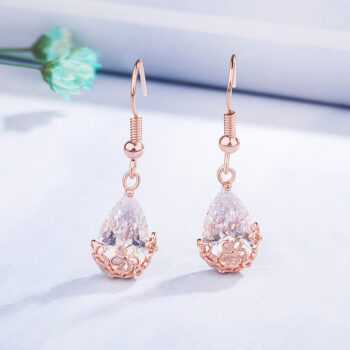 14K Rose Gold Diamond Earring Gemstone Bizuteria Orecchini 14K Rose Gold Garnet Drop Earrings Jewelry for Women Females