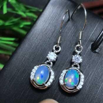 [MeiBaPJ Natural Opal Gemstone Fashion Leaf Drop Earrings for Women Real 925 Sterling Silver Charm Fine Jewelry