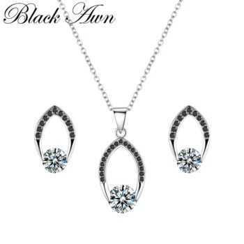 Vintage 925 Sterling Silver Jewelry Sets Engagement Women's Necklace Pendant Stud Earrings Set Z019