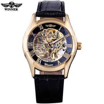 2016 WINNER BRAND MEN MALE RUSSIAN GOLDEN BLACK SKELETON HAND WIND MECHANICAL MILITARY FASHION CASUAL WATCHES LEATHER BAND