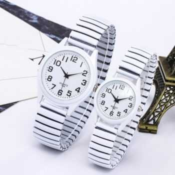 1PCs Fashion Vintage Business Women Men Elastic White Black Quartz Watch Tide Lovers Couple Party Office Gifts Bracelet Watches