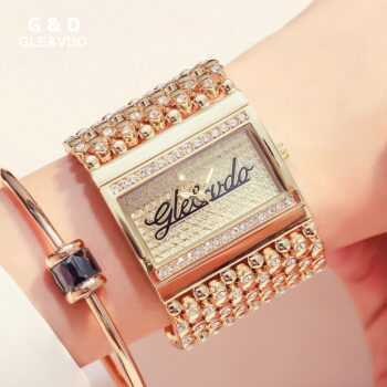 2018 G&D GLE&VDO Brand Women Watches Luxury Crystal Stainless Steel Ladies Bracelet Watches Fashion Quartz relojes para mujer