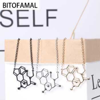 1 Pc LSD Pendant Necklace Aka Acid Chemical Molecule Structure Exquisite Gift for Men Women Couple Elegant Generous Cool Present