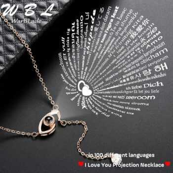 100 languages I love you New Arrival Rose Gold&Silver Projection Pendant Necklace Romantic Love Memory Wedding Necklace 2019