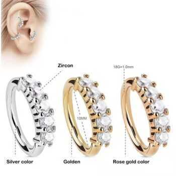 1 PCS Golden/Gold/Silver/Rose Gold CZ Nose Hoop Nostril Ring Cartilage Tragus Earring Round Crystal Zircon Huggie Earrings Hoops