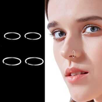 1 Pair 925 Sterling Silver Nose Ring Hoop Piercing Silver Hoops 8mm 10mm Helix Piercing Ear Hoop Septum