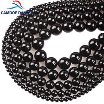 100% Natural Stone Black Agates Onyx Round Beads And Glass Round Beads 4 6 8 10 12 14MM DIY Beads For Jewelry Making Wholesale