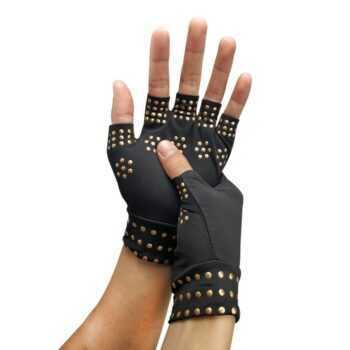 1 Pair Anti-skid Spot Glue Half-finger Gloves Breathable Thickened Wrist Anti Arthritis Health Compression Therapy Wrist Support