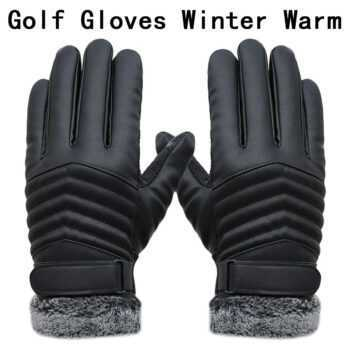 1 pair golf gloves Artificial Touch screen Leather Non-slip winter warm driving cycling fishing hunting outdoor sports men black