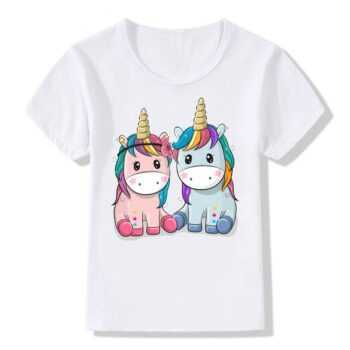 2-11 Years Old Unicorn Print T-Shirt Baby Girls Boys Summer White T-shirt Casual Girls Tops Clothes KT-2064