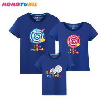 1 Piece Family Matching Outfits Mother Father Son Daughter Cartoon Lollipop Print Women Men Children Boy Girl T shirt Plus size