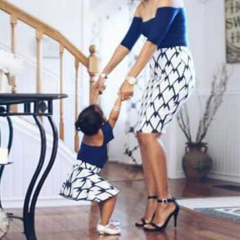 1pc Mommy and Me Daughter Dress Clothes Pajamas Off Shoulder Elegant Mother and Daughter Clothes Family Matching Outfits Look