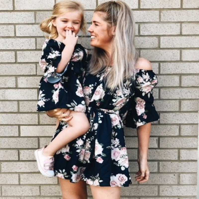 mother and daughter boho dresses fashion parentchild off