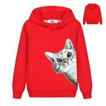 2018 Kawaii Cat Hoodies Kids Girls Cute Cartoon Looking Outside Cat Print Hooded Sweatshirt Loose Pullover Tracksuit for Boys