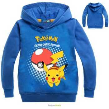 2-16Y Fashion Lovely Pokemon Go Hoodie Pants 2pcs Set Anime Pika Print Sportsuit Pikachu Boys Clothing Toddler Girl Outfits