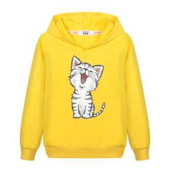 2018 New Sweet Cute Cat Print Hoodie Boys Hoodies Sweatshirt Pullovers Clothes Kids Girls Cotton Harajuku Kawaii Tops