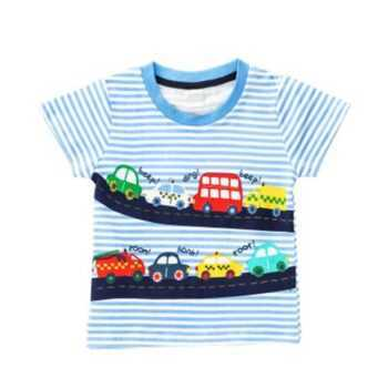1-5Y Casual Baby Cartoon Print T-Shirts Fashion Summer Toddler Boys Cotton Style Short Sleeve O-Neck Pullover
