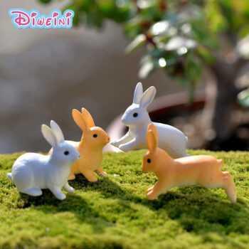 1 pc Running Rabbit animal models plastic girl toy Miniature Figurine Sitting Hare DIY Accessories House Decoration Simulation