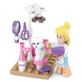 0515 SLUBAN Girl Friends Pet Grooming Store Model Building Blocks Enlighten DIY Action Figure Toys For Children