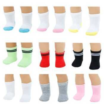 1 Pairs Mini Short Sports Socks Casual Daily Dress Up Clothes Accessories for American Girl Doll 18 Inch Puppet Kids Toys
