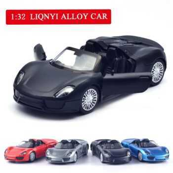 1:32 5 inch High Simulation Toy Vehicles Diecaste Metal Alloy Car For Porsche 918 Spyder Model Toy Vehicles Matte Black For Kids