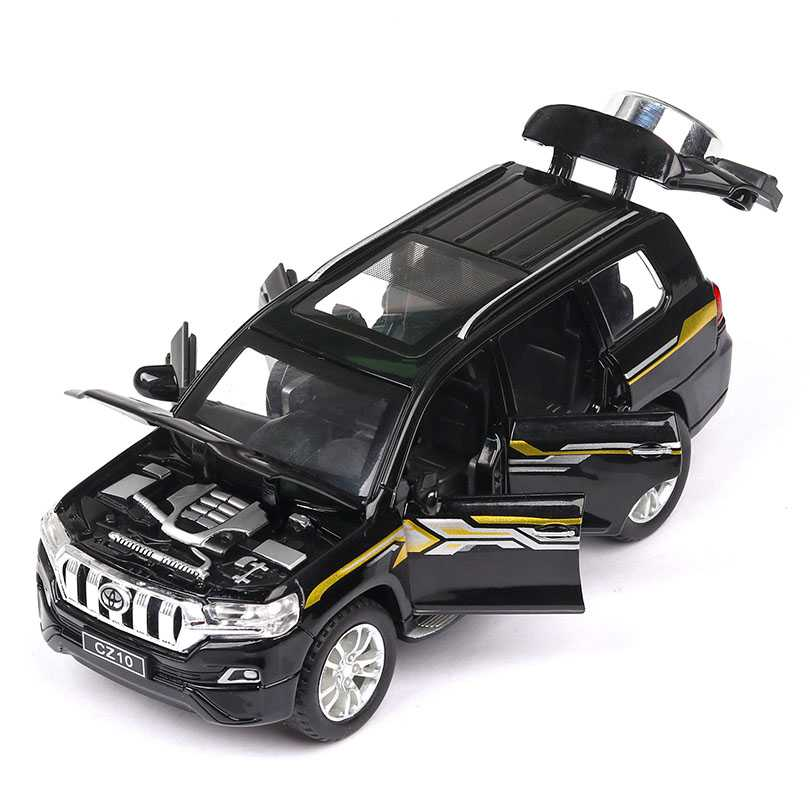 2019 New Model 1/32 PRADO Simulated Off-road Vehicle Model 6 Open Doors, Sound and Light Echo Function Toy Car kids Collection