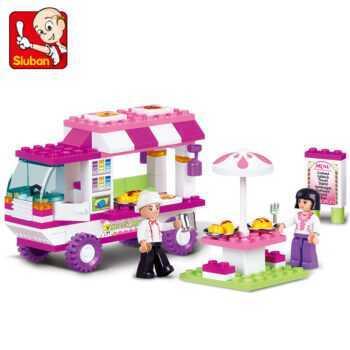 0155 SLUBAN Girl Friends Food Truck Snack Car Model Building Blocks Enlighten Action Figure Toys For Children