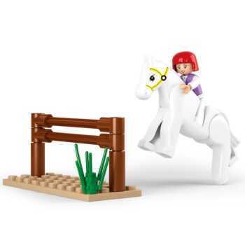 0517 SLUBAN Girl Friends Horse Racing Model Building Blocks Classic Enlighten DIY Figure Toys For Children Christmas Gift