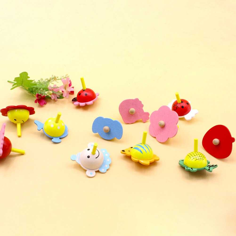 Children Educational Wooden Toys Flower Rotate Baby Wood ...