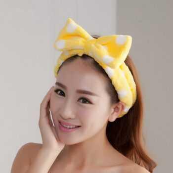 Big Rabbit Cat Ear Coral Fleece Elastic Hair Ribbon Bath Shower Make Up Wash Face Cosmetic Headband For Women Hair Band Headwear