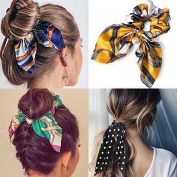 Chffion Hair Scrunchies Fashion Big Bow Women Pearl Ponytail Holder Tie Hair Elastic Rubber Bands Hair Accessories Headwear