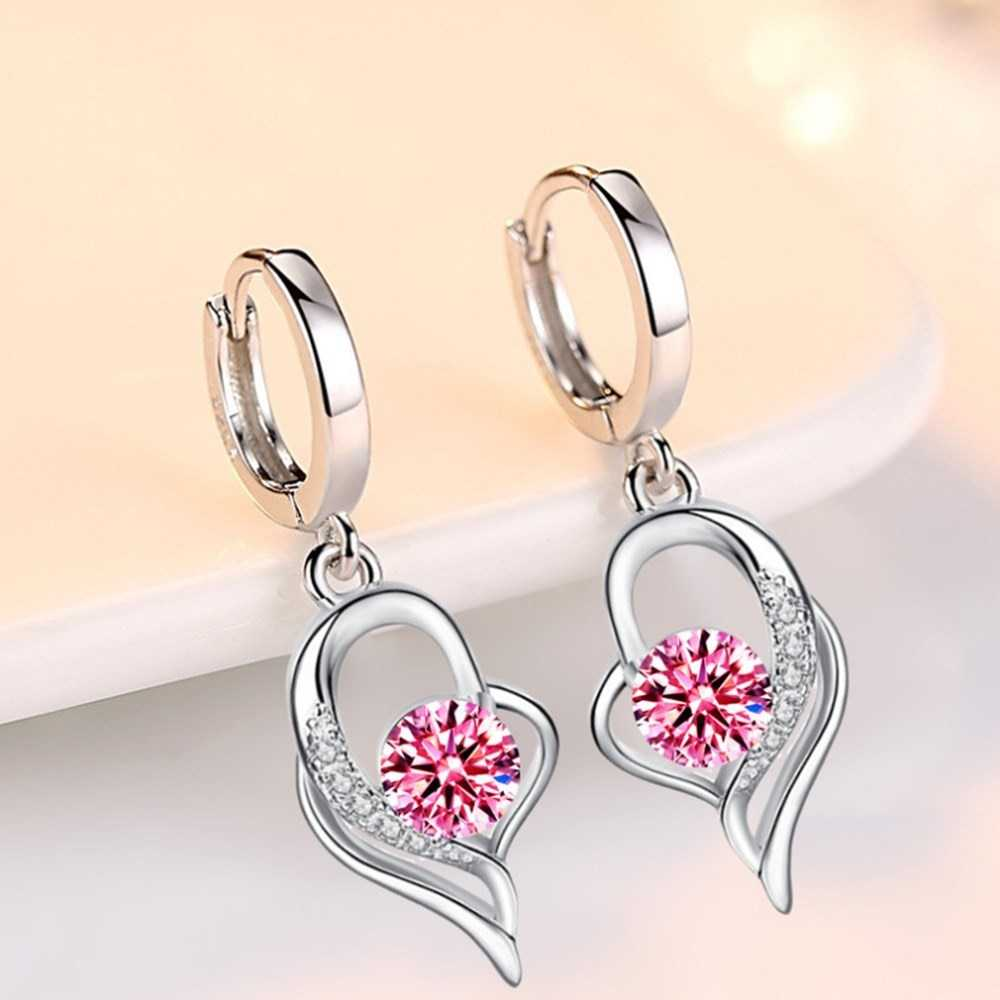 Nehzy 925 Sterling Silver New Woman Fashion Jewelry High Quality Blue Pink White Purple Crystal Zircon Hot Selling Earrings Love The Shop